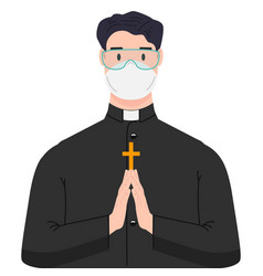 Religious priest with antivirus protection vector