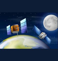 Satellites orbiting earth scene vector