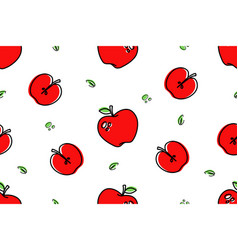 seamless pattern apples icons isolated on white vector image