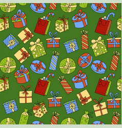 seamless pattern with gift boxes with ribbons in vector image