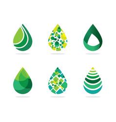 Set abstract green water drops symbol water dr vector