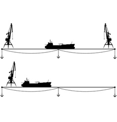 Set border with crane and ship vector