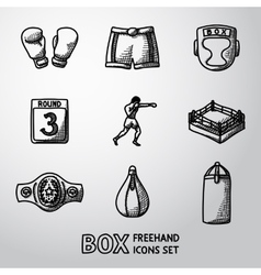 Set of boxing hand drawn icons - gloves shorts vector