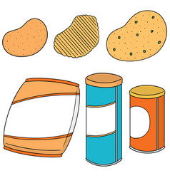Set of potato chips vector