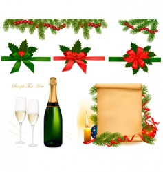 set with champagne with glasses vector image vector image