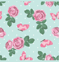 shabchic roses and butterflies seamless pattern vector image