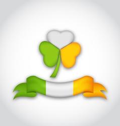 shamrock and ribbon in traditional Irish flag vector image