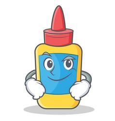 Smirking glue bottle character cartoon vector