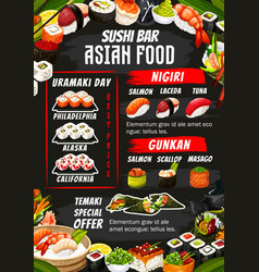 Sushi bar rolls sashimi and maki menu vector
