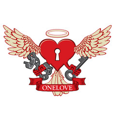 t-shirt design with lock in shape of winged heart vector image