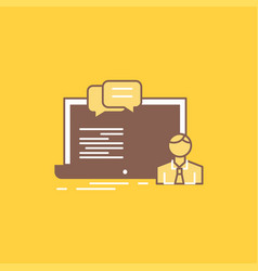 Training course online computer chat flat line vector