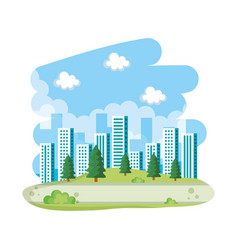 tree on park buildings skyline vector image