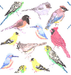 Various birds stained glass art seamless vector