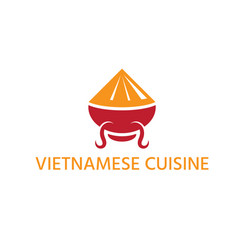 vietnamese cuisine with hat and bowl abstract vector image