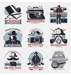 Vintage Detective Labels Set vector