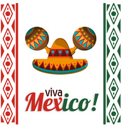 Viva mexico celebration heritage card vector