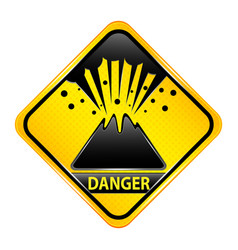 Volcano danger sign vector