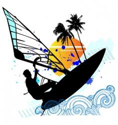 Windsurfing vector set vector