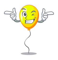 Wink yellow balloon air in flying cartoon vector
