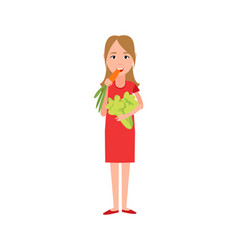 woman eating carrot broccoli vector image
