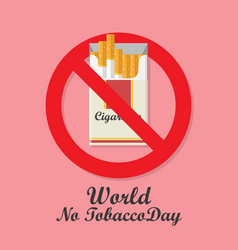 world no tobacco day with cigarettes pack vector image