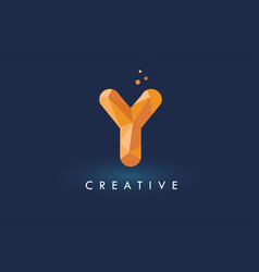 Y letter with origami triangles logo creative vector