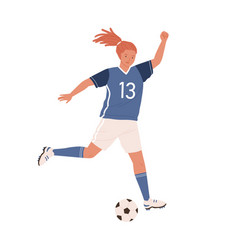 young female soccer player running up and kicking vector image