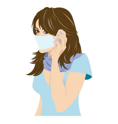 Young girl with mask on phone vector