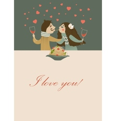 Couple in love eating spaghetti vector image vector image