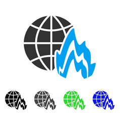 Global fire flat icon vector