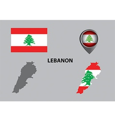 Map of Lebanon and symbol vector image vector image
