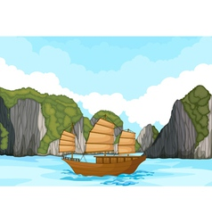 ship sailing in water vector image vector image
