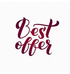 Best offer logo best offer calligraphic print on vector