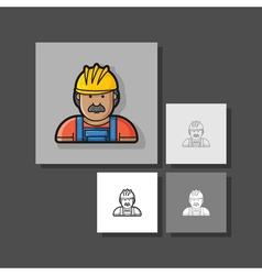 contour icon builder in helmet and overa vector image