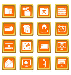 criminal activity icons set orange vector image vector image