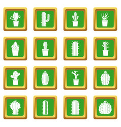 different cactuses icons set green vector image