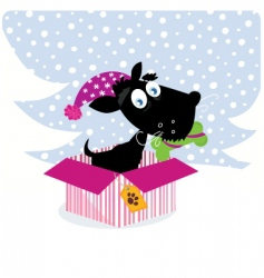 dog in Christmas gift vector image vector image