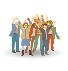 group happy people isolate on white vector image