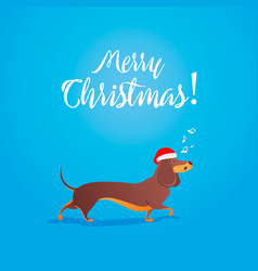 merry christmas funny cartoon dancing dog sings vector image vector image