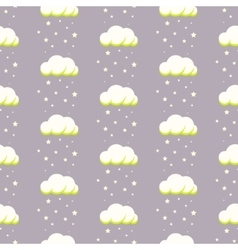 Rainy clouds on violet starry background vector image