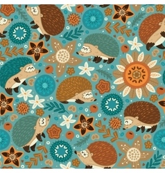 Seamless pattern with hedgehogs and floral vector image vector image