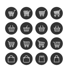Shopping baskets thin line icons set vector image vector image