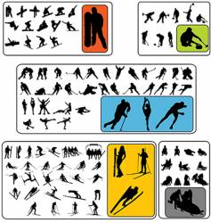 simple winter sport silhouettes vector image vector image