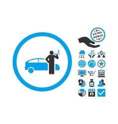 Smoking Taxi Driver Flat Icon With Bonus vector image