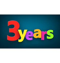 Three years paper sign vector image