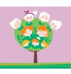 triple generation family tree vector image vector image