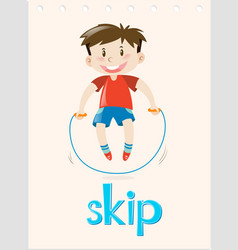 Action verb flashcard with word skip vector