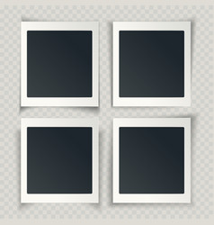 Blank photo frames with different shadows on the vector