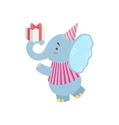 Elephant Cute Animal Character Attending Birthday vector image vector image
