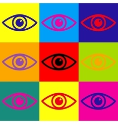 Eye sign Pop-art style icons set vector image